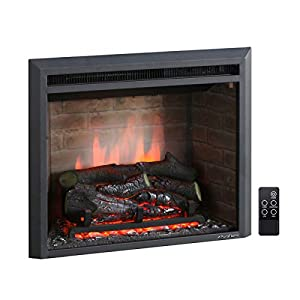 PuraFlame Western Electric Fireplace Insert with Fire Crackling Sound, Remote Control, 750/1500W, Black, 33 5/64 Inches Wide, 21 Inches High
