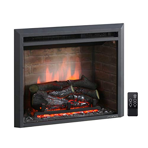 PuraFlame Western Electric Fireplace Insert with Fire Crackling Sound, Remote Control, 750/1500W, Black, 22 53/64 Inches Wide, 20 3/64 Inches High