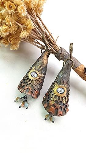 Pendientes Elficos Ojos del bosque hechos a mano Pieza única