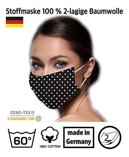schwarz weiß klein gepunktete Facies wiederverwendbar 60 Grad waschbar aus Baumwolle 2-lagige Stoff Facies hergestellt in Berlin sofort lieferbar Punkte 2 mm