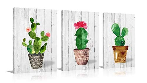 Watercolor Triptych Canvas Wall Art - Green Tropical Red Flower Desert Succulents Plant Cactus Canvas Print - Framed Wall Paintings for Office Bathroom Wall Decor (green, 12x16inchx3)