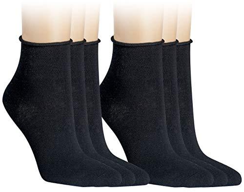 Vitasox 15264 Damen Socken Kurzsocken Rollrand einfarbig Schwarz 6er Paar 39/42