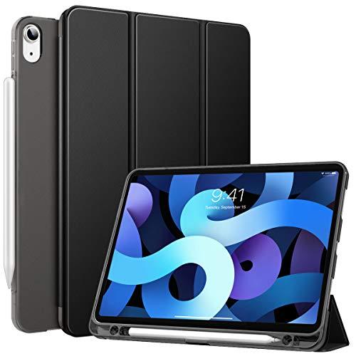 MoKo Funda Compatible con iPad Air 4ta Generación 2020 iPad 10.9 2020 Tableta, Funda de Cubierta Inteligente con Soporte Pencil y Carcasa Trasera de TPU Translúcido, Negro