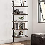 Bookshelf 5-Tier Wall Mount Ladder Storage Industrial Bookcase Shelf Modern Wood Book Shelf Unit with Metal Frame for Home Office Living Room