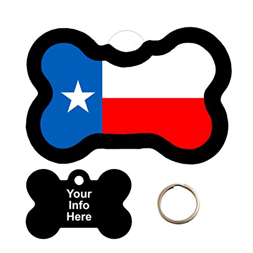 Customized Texas Flag Pet Tag - Bone Shape Tag