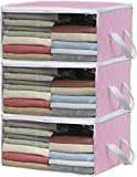Simple Houseware 3 Pack Foldable Closet Organizer Clothing Storage Box with Clear Window, Pink