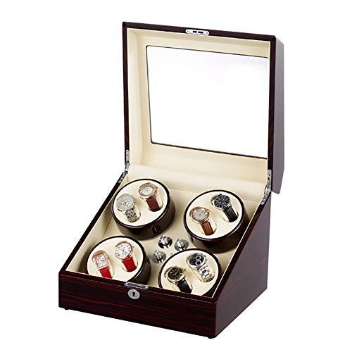 GUOSJ Hölzerner Uhrenbeweger zum Aufziehen 8 Automatikuhren für Damen- oder Herrenuhren, 4 Drehmoduseinstellungen