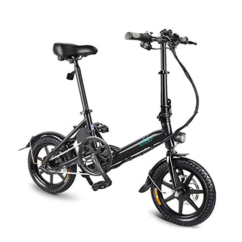 FIIDO D3s Folding EBike, 250W Aluminum Electric Bicycle with Pedal for Adults and Teens, 16' Electric Bike 15Mph with 36V/7.8AH Lithium-Ion Battery, Professional Quick-Shift Shimano 6-Speed, Black