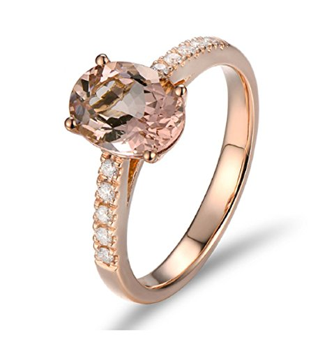 Gowe unbeschichtetes 18K/au750Rose Gold 1,79CT natürlicher Morganit 0,17ct Diamanten Verlobungsring