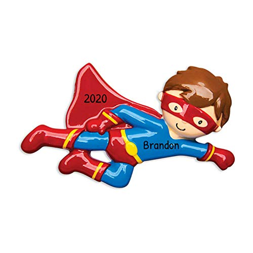 Personalized Super Hero Christmas Tree Ornament 2019 - Fictional Character Boy Flying in Blue Costume Red Cape Mask Superman Best Toddler Heroic Cartoon Toy Star Gift Year - Free Customization