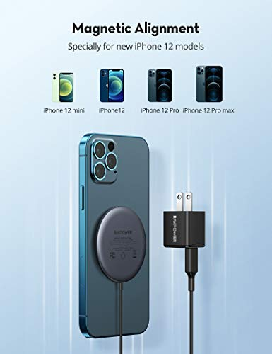 RAVPower Magnetic Wireless Charger iPhone 12 Charger, Mini Type C Wall Charging Adapter Included, Fast Wireless Charging Pad Compact for iPhone 12 Pro Max mini and AirPods Pro