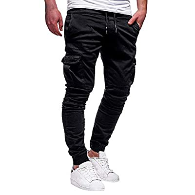 ZSBAYU Mens Cargo Trousers Slim Fit Jeans Skinny Jogging Elasticated Waist Drawstring Chinos Pants Tracksuit Bottoms Trousers Black