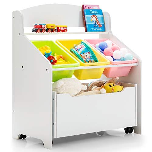GIANTEX Kinder Spielzeugregal, Spielzeugschrank mit 3 bunten Körben & 1 Schubladen, Kinderzimmerregal aus Holz, Spielzeug Aufbewahrungsregal, Kinderregal für Kinderzimmer, Kindergarten, Wohnzimmer