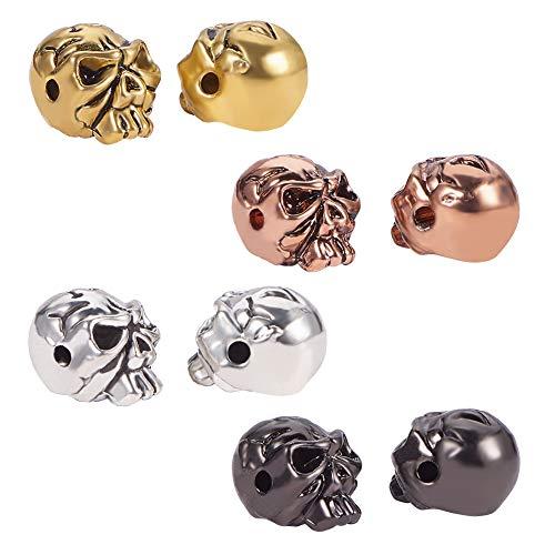 PandaHall 40 cuentas de calavera para bricolaje, collares, pulseras y pendientes, 4 colores