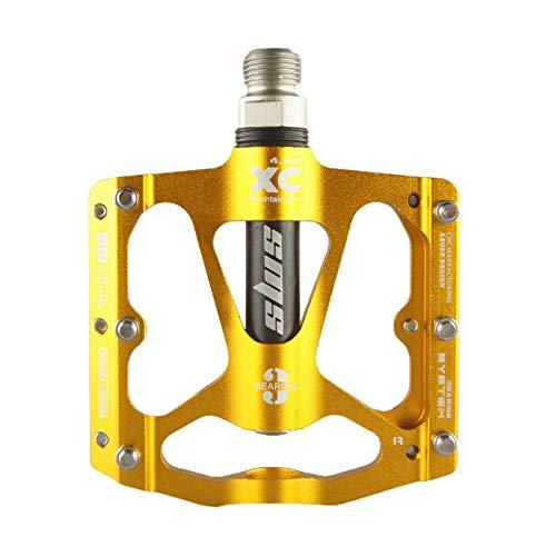 FrontStep Hohe Qualität Aluminium Legierung Anti-Rutschpedale Leicht MTB/Mountainbike/Rennrad/Stadtrad/Radsport Pedal/BMX Mit Cr-Mo Stahlspindel Fahrrad Pedale (Golden)