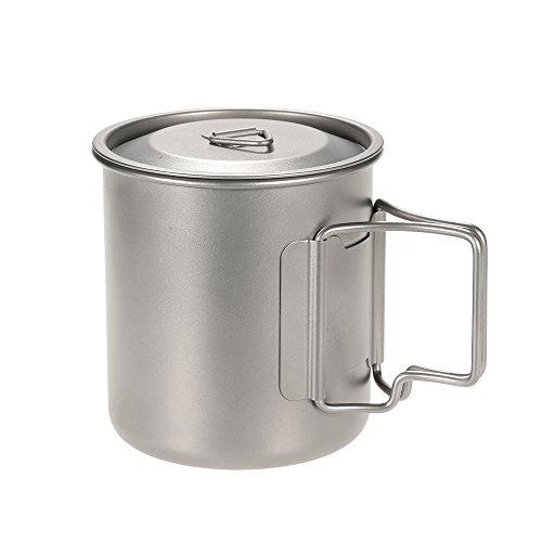 Docooler 420 ml Titanium Becher mit Cover Camping Becher mit Deckel Picknick Wasser Tasse Outdoor Geschirr