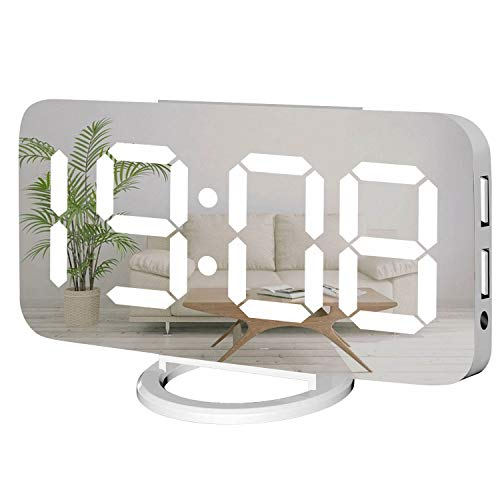 Miowachi Digital Alarm Clock,Large Mirrored LED Clock,Snooze,Dim Night Light 2 USB Charger Ports Desk Alarm Clocks for Bedroom Decor (White)