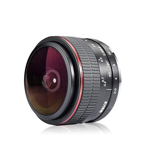 mejores Objetivos Ojo de Pez para Nikon Meike Óptica MK 6.5 mm f2.0 Lente ojo de pez ultra gran angular para Nikon, bayoneta de cámaras sin espejo