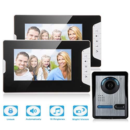 "FLOUREON Kit de Teléfono con Timbre Intercomunicador con 2 Monitores a Color LCD DE 7"", 1 Cámara IR al Aire Libre, Visión Nocturna, Video Portero para Uso en el Hogar"