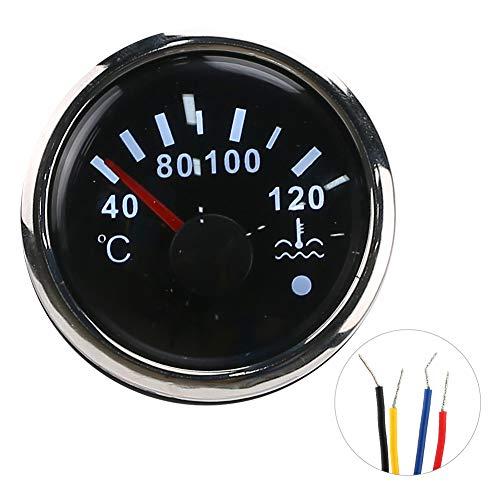 Wassertemperaturanzeige, 2-Zoll-Kühlwassertemperaturanzeige 40-120 ℃ Smart Alarm IP67 Wasserdichter 12V/24V 0-190 Ohm EU-Sensor(Schwarzes Zifferblatt)