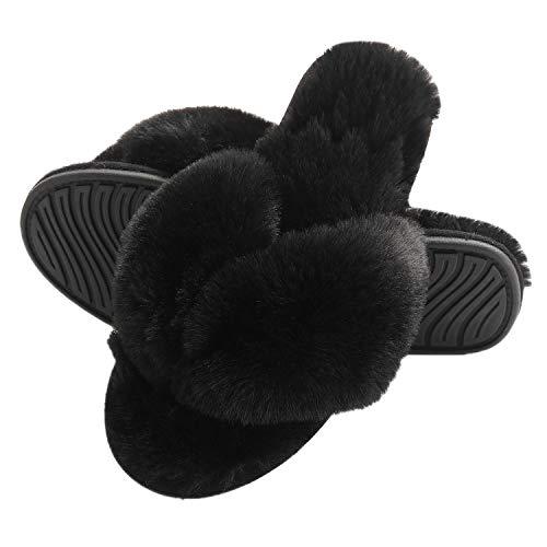 FLY HAWK Damen Pantoffeln, Plüsch Flip Flops aus Kunstfell rutschfeste Hausschuhe Fluff Zehentrenner Weiche Warme Fellhausschuhe,Schwarz,39/40 EU (Herstellergröße L)
