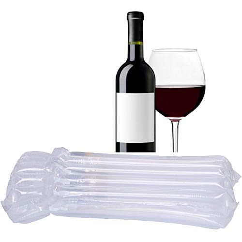 AKLVBL Wine Bottle Protector Bags, 20 Pack Bubble Cushion Wrap Airplane Travel, Safety Shipping Packaging Bags for Glass Bottles in Transport with Luggage with Reusable Pump
