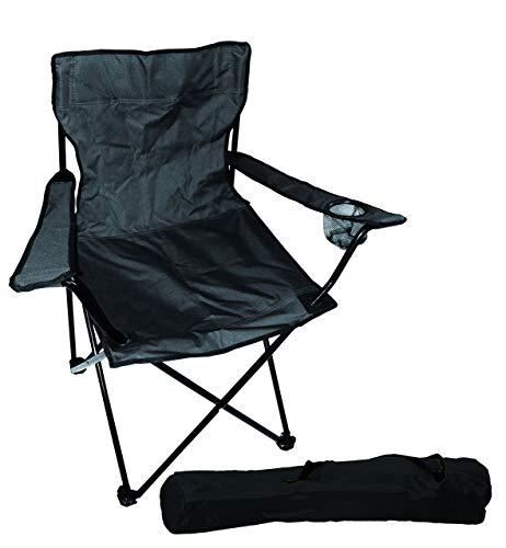 FineHome Praktischer Anglersessel Campingstuhl Faltstuhl Anglerstuhl Regiestuhl mit Getränkehalter und Tasche in Schwarz