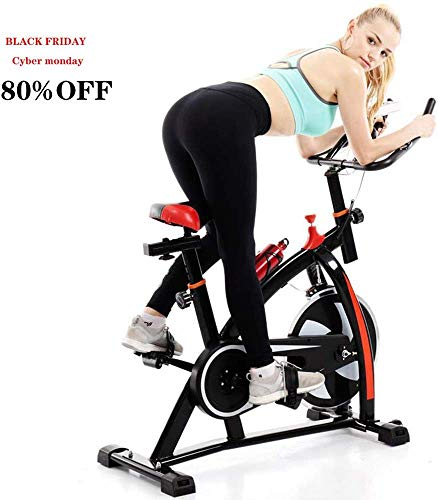 UAMSISTE Adjustable Exercise Bike, Stationary Bike, Indoor Cycle Bike, with Heart Rate Sensors, LCD Display, Professional Exercise Bike for Home and Gym Use (Black)