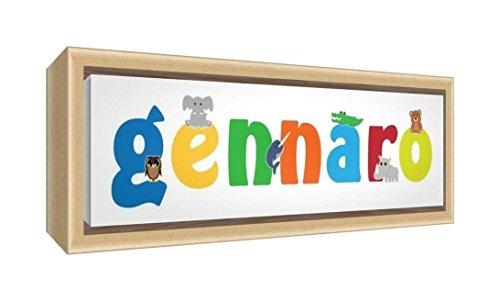 Little Helper Kunstdruck auf gerahmter Leinwand Holz natur, Position personalisierbar mit Namen kinderleicht Gennaro 19 x 46 x 3 cm mehrfarbig