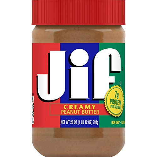 Jif Creamy Peanut Butter 28 Ounces Pack of 10 7g 7% DV of Protein per Serving Smooth Creamy Texture No Stir Peanut Butter