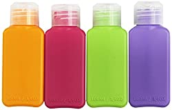 Inexpensive Ikea bottles, colour coded or use labels to mark contents