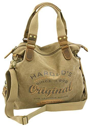 HAROLD'S Große Canvas Damen Handtasche mit Echtlederbesatz > Leger als Schultertasche oder crossover als Umhängetasche tragbar Natur Beige-Braun (4541)