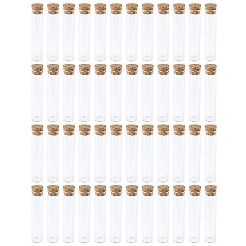 48 provette con tappo in vetro di alta qualità, altezza 10 cm (senza tappo), esterno: Ø 2,2 cm, interno: Ø 1,7 cm, autoportante grazie al fondo appiattito, ideale come bomboniera per matrimonio.