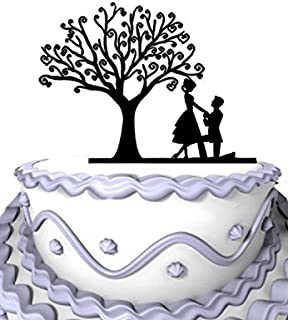 Meijiafei Wedding Cake Topper - Will You Marry Me Cake Topper Under the Tree for Rustic Wedding - Party Supplies
