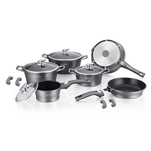 Royalty Line - Batería de Cocina Profesional (14 Piezas, Aluminio Fundido, Revestimiento de mármol, Marca con Asas extraíbles)