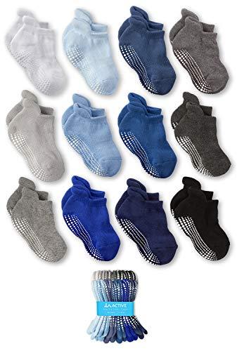 LA Active Socken - 12 Paar - Baby Kleinkind Säugling Neugeborenes - Anti Rutsch/Rutschfest Grip Knöchelsocken (Jungen, 12-36 Monate)