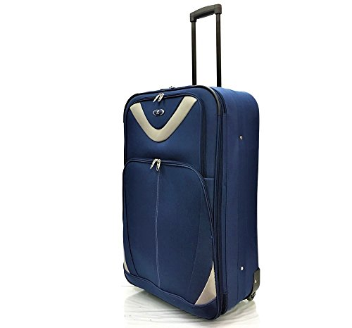 """29"""" Large Super Lightweight Expandable Durable Hold Luggage Suitcase Trolley Case Travel Bag with 2 Wheels (29' Large, Navy/Silver)"""