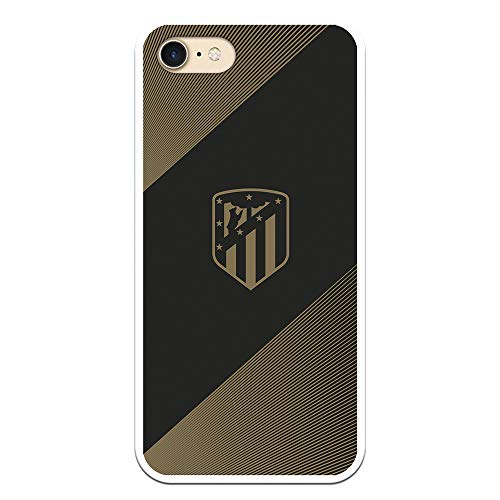 Funda para iPhone 7 - iPhone 8 - iPhone SE 2020 Oficial del Atlético de Madrid Fondo Negro para Proteger tu móvil. Carcasa para iPhone de Silicona Flexible con Licencia Oficial de Atlético de Madrid.