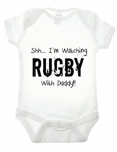 Reality Glitch Shh.I'm Watching Rugby with Daddy Strampler (Weiß, 0-3 Monate)