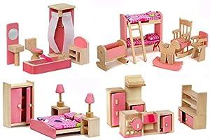 Giraffe 4 Set Pink Wooden Dollhouse Furniture, Miniature Bathroom/ Kid Room/ Bedroom/ Kitchen House Furniture Dollhouse Decoration Pretend Play Kids Children Toy