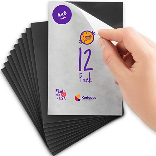 Flexible Adhesive Magnetic Sheets Paper 4x6 Inch - Peel and Stick, Works Great for Pictures!, Cuts to Any Size! Pack of 12