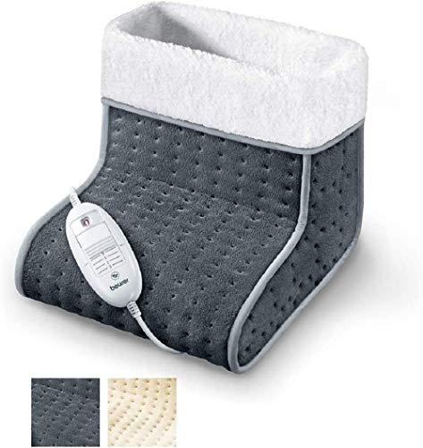 Beurer FW 20 Chauffe-pieds, avec doublure en peluche, chauffage électrique des pieds avec 3 niveaux de température, arrêt automatique, lavable en machine, gris