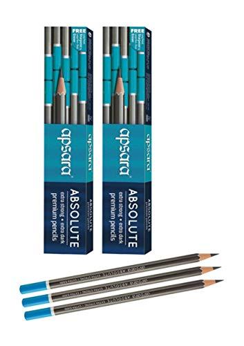 Apsara Absolute Extra Dark & Strong Premium Pencil | Set of 2 (20 Pencils) with 2 Eraser & 2 Sharpner