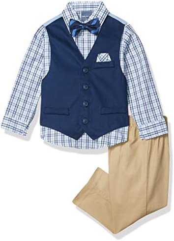 Nautica Boys Toddler 4 Piece Set with Dress Shirt Bow Tie Vest and Pants Khaki Navy 3T product image