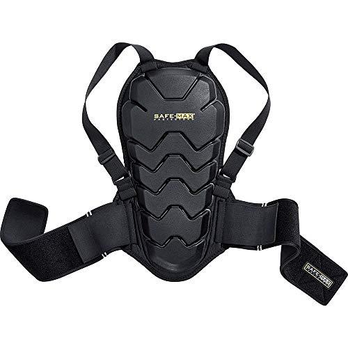 Safe Max® Rückenprotektor Motorrad Herren und Damen Rückenprotektor 04, Schutzklasse 2, sehr hohe Flexibilität, leichtes und flaches Design, integrierter Nierengurt, Schwarz, XL