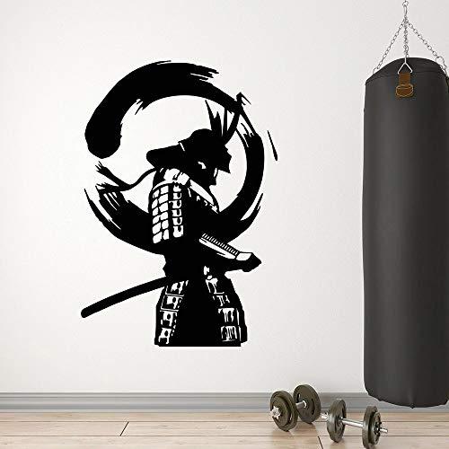 HGFDHG Pegatinas de Pared de Vinilo Guerrero japonés Enso Zen círculo Samurai Pegatinas de Pared asiáticas decoración de Arte rupestre para Hombres