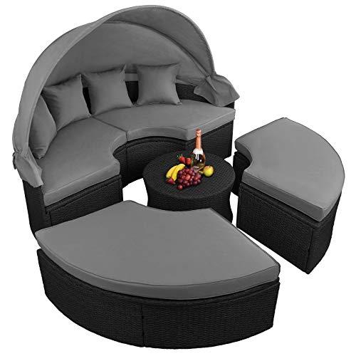 BB Sport 13-teilige Polyrattan Lounge Muschel Sonneninsel Sonnendach Klappbar Zierkissen Auflagen 10 cm Dicke, Farbe:Titan-Schwarz/Kieselstrand - 4