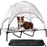 Pet Cot with Canopy Shade Tent & Carry Along Travel Bag – Portable Foldable Indoor Outdoor Cooling Elevated Dog Bed with Removable Pop Up Sunshade Dome Gazebo Awning, Large or XL – Gray Large