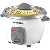 Black & Decker RC3406 3-Cup Dry/6-Cup Rice Cooker andSteamer, White