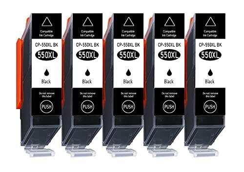 5er Pack nur Schwarz 550XL 551XL Kompatible Druckerpatronen Multipack für Canon PGI-550 XL CLI-551 XL Canon Pixma MG5650 MG5550 MG6350 MG6450 IP7250 IP7200 MX725 MX920 MX925 IX6850